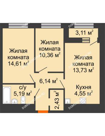 2 комнатная квартира 58,57 м² в ЖК Дом на Набережной, дом № 1