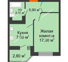 1 комнатная квартира 29,5 м² в ЖК Вересаево, дом Литер 11 - планировка