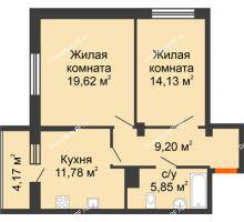 2 комнатная квартира 64,75 м², ЖК Галактика - планировка