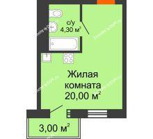 Студия 25,2 м² в ЖК 5 Элемент (Пятый Элемент), дом Корпус 5-4 - планировка