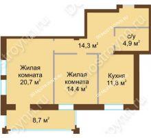 2 комнатная квартира 70,4 м², Жилой дом: ул. Почаинская д. 33 - планировка