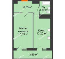 1 комнатная квартира 43 м² в ЖК Фамилия, дом Литер 1 - планировка
