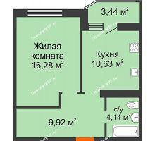 1 комнатная квартира 42,69 м² в ЖК Губернский, дом Литер 29 - планировка