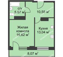 1 комнатная квартира 49,91 м² - ЖК На Ошарской