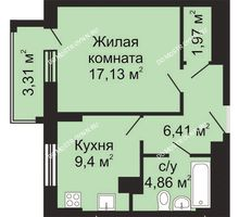 1 комнатная квартира 41,43 м², ЖК Гелиос - планировка