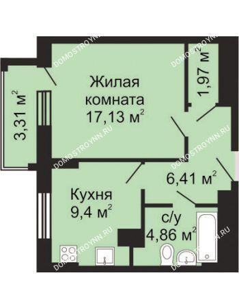 1 комнатная квартира 41,43 м² - ЖК Гелиос