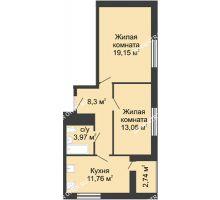 2 комнатная квартира 59 м² - ЖК Алый Парус