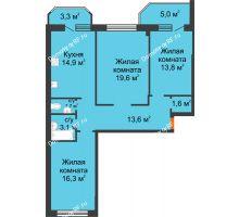 3 комнатная квартира 92,9 м² в ЖК Острова, дом 4 этап (второе пятно застройки) - планировка