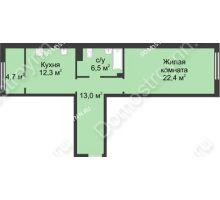 1 комнатная квартира 59 м² в ЖК Славянский квартал, дом № 5а, 7 - планировка