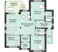 """3 комнатная квартира 185,4 м² в КП Ясная поляна, дом """"Монте-Карло"""" 185,4 м² - планировка"""