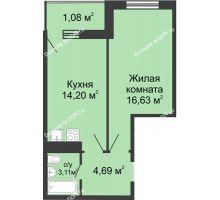 1 комнатная квартира 39,71 м² - ЖК Центральный-2