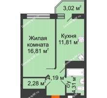 1 комнатная квартира 40,91 м² в ЖК Берег, дом 1 секция  - планировка