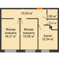 2 комнатная квартира 62,15 м², ЖК Две реки - планировка