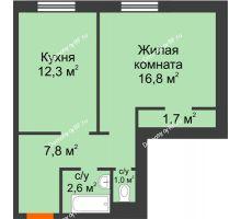 1 комнатная квартира 42,2 м² в ЖК Апрелевка, дом Жилой дом №2, строение 1 - планировка