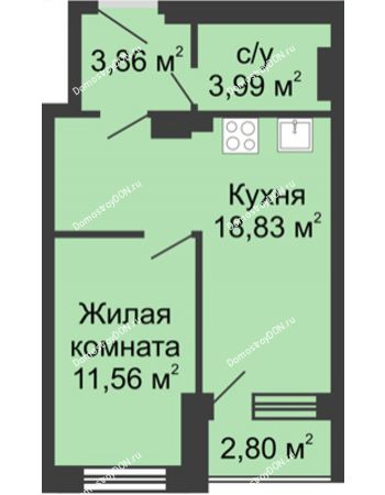 1 комнатная квартира 40,04 м² - ЖК Вдохновение