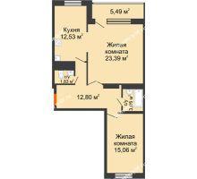 2 комнатная квартира 74,18 м², ЖК Новая Тверская - планировка
