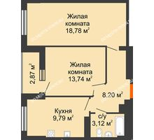 2 комнатная квартира 55,07 м², ЖК Орбита - планировка
