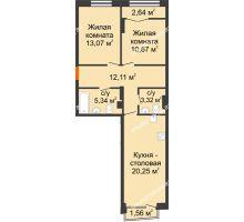 2 комнатная квартира 66,55 м², Клубный дом на Ярославской - планировка