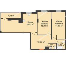 2 комнатная квартира 81,95 м² в ЖК Карамель, дом № 1 - планировка