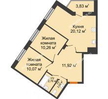 2 комнатная квартира 61 м² - ЖК Пушкин