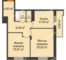 2 комнатная квартира 69,29 м² в ЖК Циолковский, дом № 3 - планировка