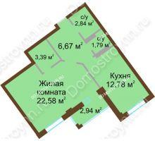 1 комнатная квартира 51,52 м² в ЖК Дом с террасами, дом № 1