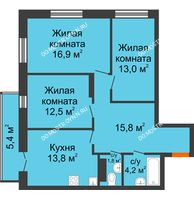 3 комнатная квартира 79,62 м² в ЖК Заречье, дом № 1, секция 1 - планировка