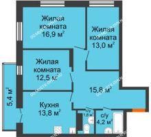 3 комнатная квартира 79,62 м² в ЖК Заречье, дом №1, секция 2 - планировка