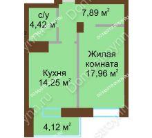 1 комнатная квартира 48,65 м² - ЖК Подкова Приокская