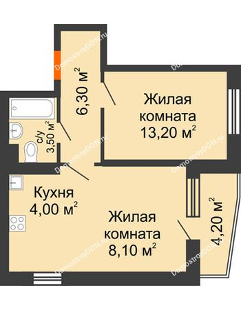 2 комнатная квартира 47,2 м² в ЖК Династия, дом Литер 2