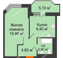 1 комнатная квартира 38,1 м² в ЖК Перспектива, дом Литер 3.5 - планировка