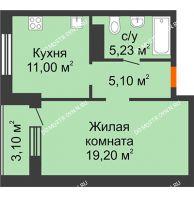 1 комнатная квартира 41,78 м² в ЖК Облака, дом № 2 - планировка