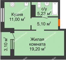 1 комнатная квартира 42,08 м² в ЖК Облака, дом № 2 - планировка