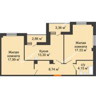 2 комнатная квартира 64,62 м², ЖК Студенческий - планировка