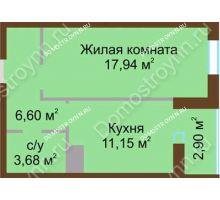 1 комнатная квартира 42,1 м² в ЖК Красная поляна, дом № 2