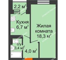 1 комнатная квартира 33,5 м² в ЖК Жюль Верн, дом № 1 корпус 2 - планировка