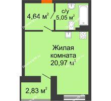 Студия 32,08 м² в ЖК Ютта, дом ГП-1 - планировка