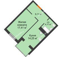 1 комнатная квартира 41,88 м², ЖК Зеленый квартал 2 - планировка