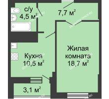 1 комнатная квартира 46,4 м² в ЖК Монолит, дом № 89, корп. 3 - планировка