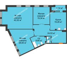 3 комнатная квартира 147,33 м², Дом премиум-класса Коллекция - планировка
