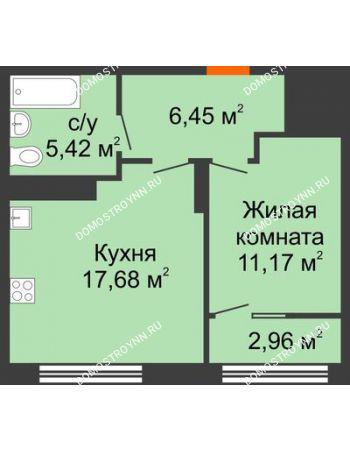 1 комнатная квартира 42,2 м² в ЖК Маленькая страна, дом № 4