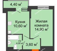 1 комнатная квартира 35,3 м² в ЖК Династия, дом Литер 2 - планировка