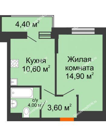 1 комнатная квартира 35,3 м² в ЖК Династия, дом Литер 2