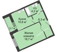 1 комнатная квартира 46,2 м² в ЖК Монолит, дом № 89, корп. 3 - планировка
