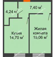 1 комнатная квартира 41,4 м², ЖК Две реки - планировка