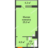 Студия 34,6 м² в ЖК Апрелевка, дом № 2, строение 1 - планировка