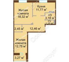 2 комнатная квартира 64,09 м² - Жилой дом Каскад на Даргомыжского