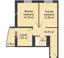 2 комнатная квартира 51,57 м² - ЖК Центральный-2