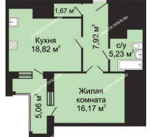 1 комнатная квартира 52,34 м² - ЖК Гелиос