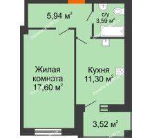 1 комнатная квартира 40,31 м² в ЖК Измаильский экоквартал, дом 1 этап - планировка